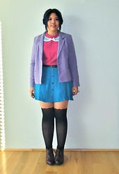 Andi D - Vintage Blazer, Vintage Sweater, Lovely Day Skirt, Topshop Tights, River Island Boots - Save me for another day.