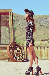Wild At Heart - Everly Mini Dress, Jeffrey Campbell Litas, Concho Hat - Morning glory