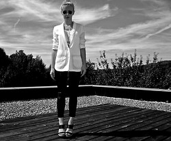 Lina S.D. - Faux Leather Legging, H&M White Blazer, Mango Mng Wedges - BLACK & WHITE