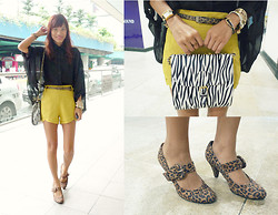 Pax I. - Mauve Belt Bangle, From Bugis, Singapore Shirt, Shorts, Gift Shoes, Closet Chic Purse, Yrys Belt, Tomato Zebra Watch - Mixed Prints