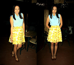 Hannah Meegan - Polo Light Blue Tank, Ny&C Yellow High Waisted Skirt, Walmart Light Brown Mary Jane Heels - Electric Feel