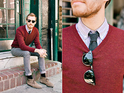 Stay Classic - H&M V Neck, Bdg Striped Button Up, Etsy Tie, Converse Jeans, Bed Stu Chukkas - October 6, 2011