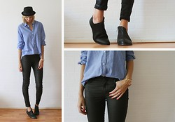 Sietske L - H&M Hat, H&M Blue Shirt, Michael Kors Rose Golden Watch, Cos Coated Jeans, Romwe Short Boots - Classy boyish.