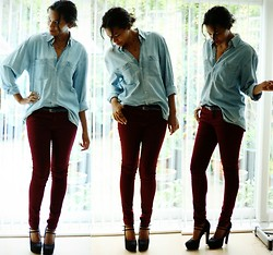 Nesha W - Thrifted Shirt, New Look Jeans, New Look Heels - Burgundy blues