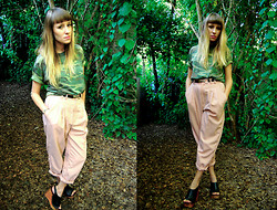 Jamie Matherly - Stolen From My Bf Camo T, Thrifted Pink Trousers, Jeffrey Campbell Snick Wedges - Camouflaged
