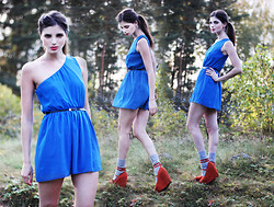 Annika M. - Love Blue One Shoulder Dress, Bright Orange Suede Wedges, Lindex Grey Knitted Socks - Summer, Sunblock and Souvlaki.
