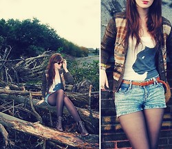 Rach Roberts - Thrift Shop Vintage Brown Pattern Cardigan, I Found It In My House, No Idea Where Came From Jaguar Vest Top, H&M Brown Leather Belt, Stone Wash Denim Shorts, M&S Brown Tights, Bank Brown Leather High Heel Boots - Dead trees
