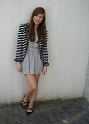 Kim S. - Zara Striped Blazer, Mango Striped Dress, Zara Black Flats - Double Stripes