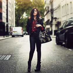 Nga Nguyen - H&M Red Checked Shirt, Zara Black Jeans, Alexander Mcqueen Bag, Balenciaga Boots - Some Things Are Said Best Unspoken