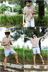 Carlo Agdamag - Kartel Sandals, Topman Denim Shorts, Thrifted Tribal Shirt, Sm Department Store Straw Trilby, Baguio Flute - Tune of Nature