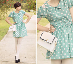 Kaylah Wanny - Mint Polka Dot Dress, Asian I Candy Store Bag, Wanted Shoes - Mint slice