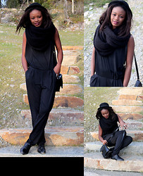 Sarah B. - Utro Black Jumpsuit, Bianco Black Scarf, Vintage Black Hat, H&M Black Bag, Vintage Black Shoes - Totaly  Black!!!!