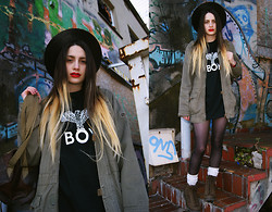 †Norelle Rheingold† - Vintage Hat, H&M Parka, Boy London Tee, Dainiel Ray Backpack, American Apparel Tights, Dr. Martens Boots - OH BOY!!!