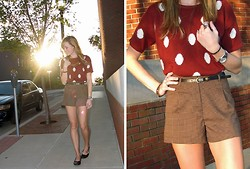 Niki Adams - Forever 21 Sweater, Forever 21 Shorts, Wal Mart Flats - Polka-dots and houndstooth.