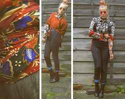 Olga Nunnink - Zipper Vintage Ethnic Thick Linen Jacket, Batik From Surinam, Thrifted Sweater Customized By Me, Etsy Vintage 80s Pattern Silk Blouse, Cheap Monday High Waisted Black Dyed Jeans, Zipper Amsterdam Vintage Lace Up Booties, Zipper New Vintage Look Glasses - Red, patterns and blue socks