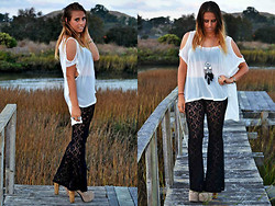 Katie Brown - Millau Sheer Open Shoulder Top, Urban Outfitters Lace Pants, Forever 21 Feather Dream Catcher Necklace, Jeffrey Campbell Jc Litas - Feel So Close To You Right Now