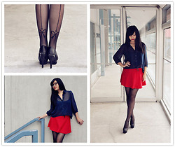 Michelle Wang - Bow Tie Sheer Tights, Sheer Navy Blouse, Forever 21 Red Mini Skirt - Sheer Blue