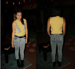 Hannah Meegan - Thrifted Yellow And Gray Sweater Vest, Vans Black Studded Belt, Wet Seal Gray Acid Wash Skinny Jeans, Dollhouse Black Combat Boots - Telekinesis