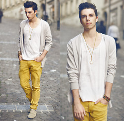 James Vyn - Cardigan, Zara Tshirt, Magnyfying Glass Necklace, Zara Mustard Pants, Schmoove Shoes - Magnifying Glass