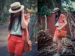Dee C - From A Local Mall Braided Black Belt, Thrifted Orange Shorts, From A Local Mall Boater Hat, From My Mom's Closet Dotted Orange Blazer, From A Local Mall Grey Oxford Shoes, From A Local Mall Beaded Necklace With Ribbon Details, Thrifted White Lace Top With Accordion Like Detail - Vintage orange