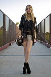 Amber Saylor - Lace Kimono, Sheer Silk Tap Short, Jeffrey Campbell Suede Lita - Old.