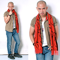 Chris Dela Cruz - Red Scarf, 2 Plus Polo, Folded And Hung Blue Jeans, Dr. Martens Army Boots, Hermës Black Bracelet - Red Army