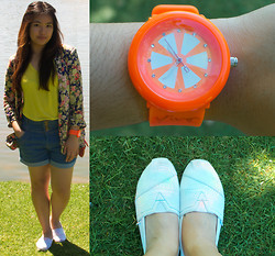 Brrrrrr Rr - Thrifted Floral Blazer, Thrifted Orange Wrist Watch, Toms Shoes, Folded And Hung Lime Green Loose Top, Paper Scissors Denim Shorts - Watch #10 - Orange chikka