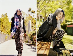 Fha Azmi - Black High Cut Boots, Supre' Army Pants, H&M Grey Pashmina, Ahc Shawl, Supre' Stripey Long Tee, Brown Braided Belt, Black Leather Jacket - Back from the army