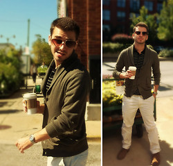 TotesFerosh ! - H&M Shawl Cardigan, H&M Faux Bans, Polo Striped Knit, American Eagle Bone Chinos - Breakfast at the Morgan