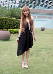 Esther Xie - Theblogshop Slanted Black Dress, Charles & Keith White Heels - The Things We Do For Love