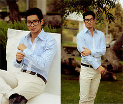 Yoshi Sudarso - Ronzaro Solid Baby Blue Checkered Work Shirt, Indonesia White Pants, Csulb Matte Black Geek Glasses - I know that there is a meaning to it all