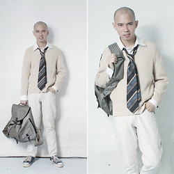 Chris Dela Cruz - Chuck Taylor, Jopej Bag, Old Navy Sweatshirt, Necktie, G2000 White Long Sleeves, Bench Pants - Ready for School