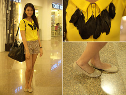 Charlene Ajose - Yellow Button Down Top, Feather Necklace, Just G. Floral Shorts, Kenneth Cole Black Two Way Bag - What's your number?