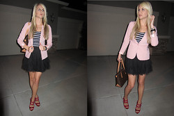 Lindsay K - Lauren Conrad Ruffled Tulle Skirt, Forever 21 Pink Blazer, Louis Vuitton Monogram Canvas Bag, Juicy Couture Black Ceramic Watch, H&M Navy And White Stiped Tank, Bebe Fuchsia Platform Heels - Heading Out for the Night