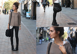India Rose - River Island Silk Pocket Vest, H&M Sweater, Topshop Coated Skinnies, Ebay Black Boots, All Saints Across Body Bag - CHAI TEA LATTE