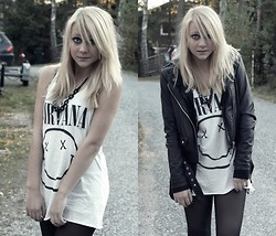 Frida G - H&M Nirvana Tank Top, Jofama By Kenza Leather Jacket - Oh well, whatever, nevermind