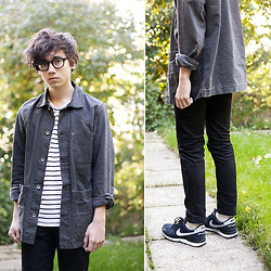 Pascal Grob - Acne Studios Jeans, Moscot Lemtosh, Weekday Striped T Shirt, Albam Denim Jacket, Nike Vortex - 7017824513