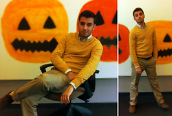 TotesFerosh ! - Express Heathered Yellow Sweater, J. Crew Tattersall Button Down, American Apparel Yellow High Socks - Otherwise Halloween