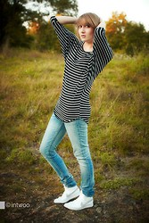 Marija M. - Striped Shirt, Levi's® Jeans, Nike High Top Sneakers - Sneakers and Stripes