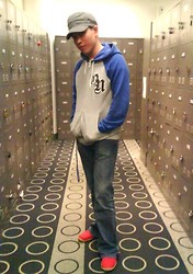 CM Fabian - Aldo Gray Cap, Old Navy Blue And Gray Jacket, Steve & Barry's Pants, Happy Feet Shoes - Blue Gray and Red