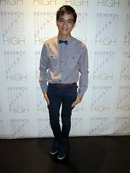 Marky Garcia - Folded And Hung Bow Tie, Mint Checkered Long Sleeves, Folded And Hung Dark Chino Pants, Topman Belt - 7th high-ing