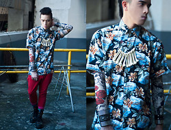 Paul Jatayna - Os Cluster Of Bones Necklace, Hawaiian Print Buttondown Shirt, Red Drop Crotch Pants, Studded Boots, Arm Tattoo Bands, Studded Bracelets - ✝✞✟LOCAL GOD✟✞✝