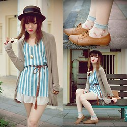 Tess Lively - Forever 21 Shoes, Forever 21 Cardi, Dress, Transparent Socks, Hat - Million Miles