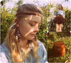 Rowena S - Opia Feather Headband, Internacionalé Feather Earrings, Quzenk Small Leather Satchel, Mum Made Them Floral Culottes, New Look Denim Shirt - Pocahontas Lives In My Back Garden
