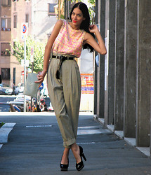 Konstantina Tzagaraki - Chanel Tweed Dress Worn As A Blouse, Chanel Pearl Shoes, H&M High Weisted Pants, Yves Saint Laurent Purse - (Sun)day to all of you!