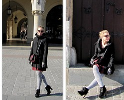 Domi La Petite - Zara Funnel Coat, Zara Combined Messenger Bag, Pepe Jeans Velour, Mango Animal Print - Sunday in Cracow