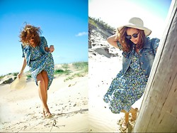 Monika Martinso - Second Hand Flower Print Dress, Diy Denim Vest, White Hat, Steve Madden Heels, Seppala Sunglasses, New Yorker Bracelet - Take me to the place I know