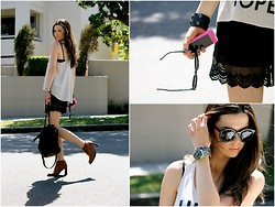 Olya Harris - H&M Top, Glassons Lace Shorts, Alexander Wang Bag, Vintage Lace Up Boots, Karen Walker Sunglasses - Easy-Breezy