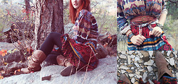 Jules Davies - Thrifted Navajo Print Button Up, Forever 21 Prairie Dress, Linea Pelle Cognac Belt - Autumnal equinox