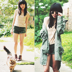 Connie Cao - Modekungen Sunnies, Clubcouture Anorak, Romwe Top, Romwe Shorts, Vintage Boots - CATNAP